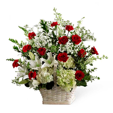 Basket of Roses and Lilies - ZAMORA-MICHOACAN