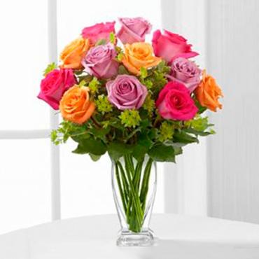 Multicolored Roses Arrangement - ZAMORA-MICHOACAN